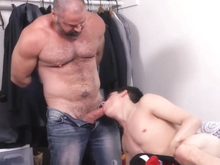 Bear Step Dad Fucks Step Son While Staying Home From School