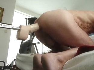 Fucked by fuck machine with big dildo