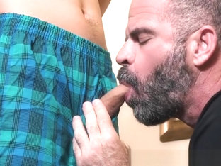 Bearded mature stepdad gently barebacks young stepson
