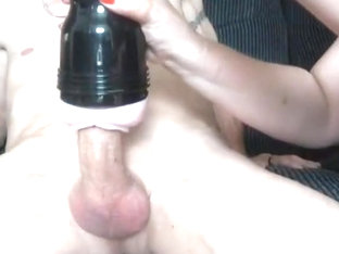 Lucky guy lets her use toys on his cock!!