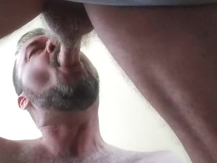 Servicing Daddy's Buddy's Big Hard Grandpa Cock