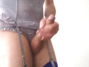 Jerking wearing exclusive basque
