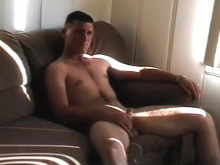 Cowboy Marine getting hic dick sucked and fucking on couch