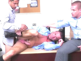 Assfucked employee shoots jizz in threesome