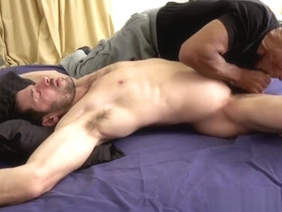 Muscle Hunk Edged on Bed
