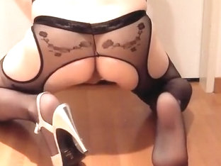 All-in-one Stocking and Silver Heels and cum