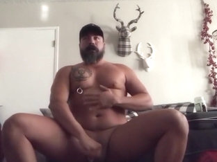 Pierced Popper Daddy Jerks Off  Plays with His Cum