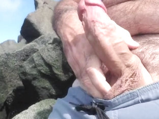 Jerking off on public beach-Big Cum Shot-Hairy Bear