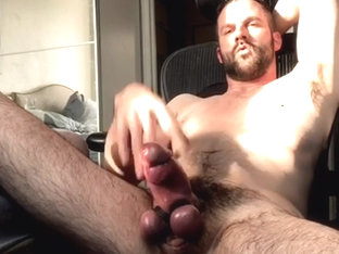 Handsome DILF shows off epic fat hairy girthy cock