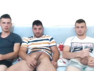 Three Horny Romanian Buddies Masturbating