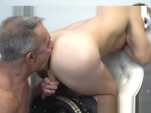80 YO Gunther swallows masked twink's juice