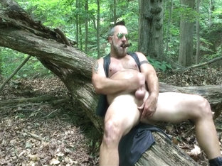 smoking daddy jerks off in woods