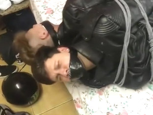 Full Leather Biker Twinks Wresteling and Bondage Gagged