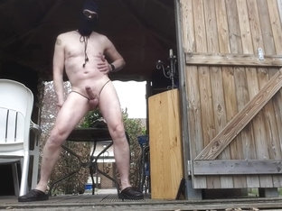 naked exhibitionist public outdoor bdsm bondage jerking