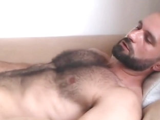 Super hot hairy guy bursting a load