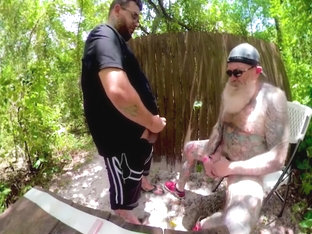 Inked Daddy Bear on the Trails. Stroking, Drinking Piss and Sucking Cock