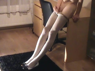 Striptease in White Delicate Pantyhose scene 2