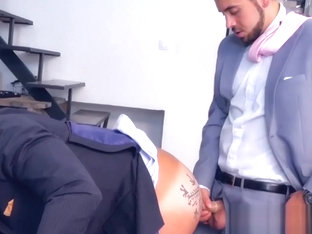 Sexy businessman fucked by slick young partner