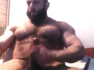 Hairy Muscle Beast Jerks His Cock