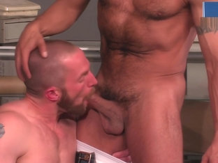 Inked Clerk Fucks Ginger Coworker in Empty Shop
