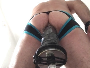machine with dildo fucked solo cockring piercing