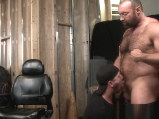 Hairy bear Brad Kalvo plows his pup Chandler Scott