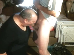 CrossDresser Sucks Cock On His Knees