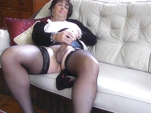 Stocking Clad Shemale Carolyn Cums for You - Tranny orgasm