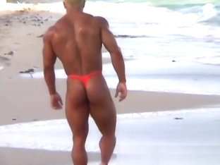 Gay Bodybuilder Joshua Fred! Thong on the beach!