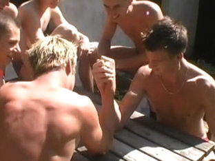 A blonde twink licks with lust his lover's pecker