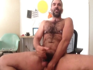 handsome hairy dilf jerks off