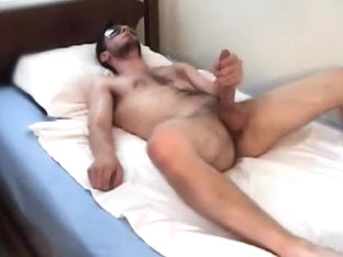 Lengthy post-workout jerk off session in sofa