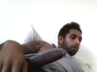 Sexy BF is relaxing in a small room and memorializing himself on camera