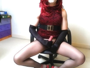 Crossdresser Marie Tease and cum in sheer pantyhose