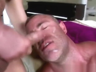 Bear gets facial after sitting on cock