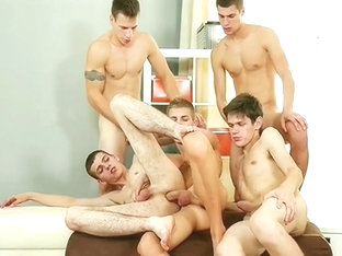 Five Boy Fuck Orgy