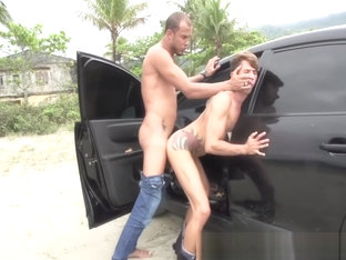Older guy fuck boy on parking