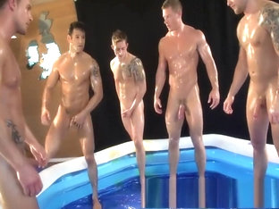 5 Naked Wrestlin' Buddies in Oil
