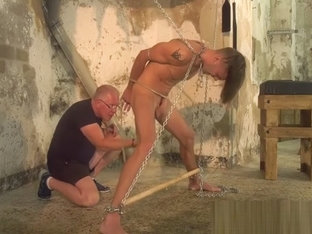 Skinny slave receives rough cock torment from mature deviant