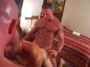 Three gay buddies fuck in the bedroom