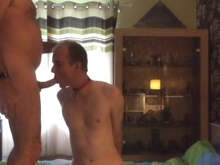 Bound Chaste Sub Slut Barebacked, Ass-to-mouth Fucked &Piss-fed by Mask Top