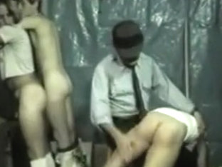 Older Officer is spanking workers