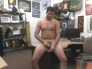 Brunette man tugging dick for cash