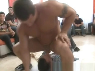Gays suck cock at male strip orgy