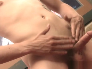 Sexy brown hair Rim Shot gets to jack his cock off for jizz