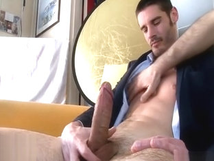 Straight French Hunk gets jerked off in suit
