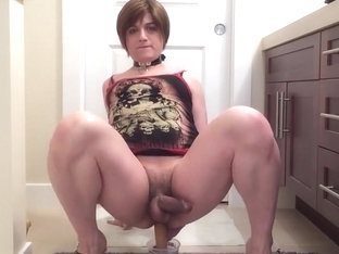 Cute Crossdresser Riding Dildo