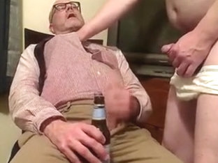 Pissing on WETMAN69 in his clothing, jerk-off with cum