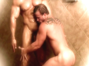 Zeb Atlas and Mark Dalton showering