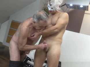 Grandpa licks hunks asshole from doggy positions
